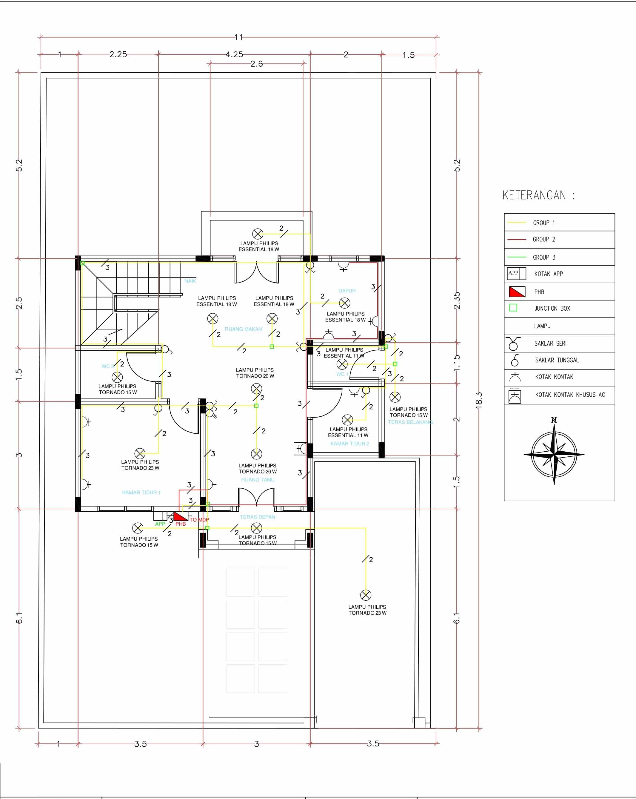 Perencanaan instalasi listrik rumah bertingkat dua lantai egsean instalasi rumah lantai 1 ccuart Gallery