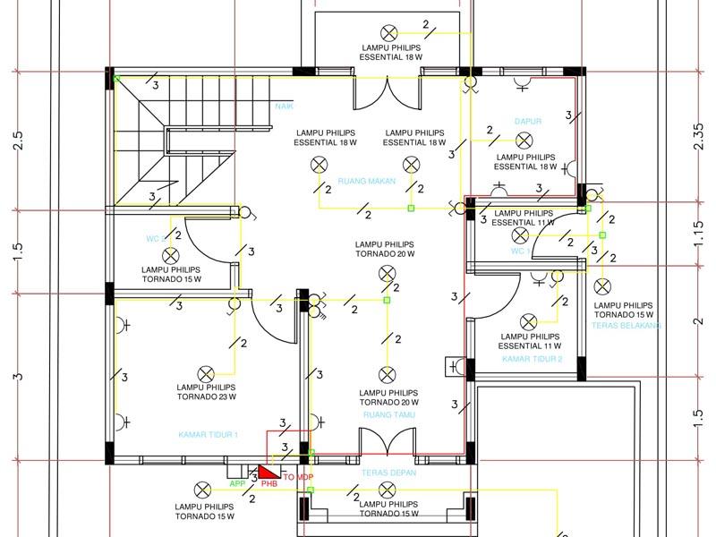 Perencanaan Instalasi Listrik Rumah Bertingkat Dua Lantai ... on